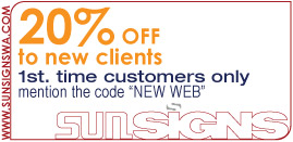 "Sunsigns 20% coupon to 1st. time customers only, mention the code ""NEW WEB"""